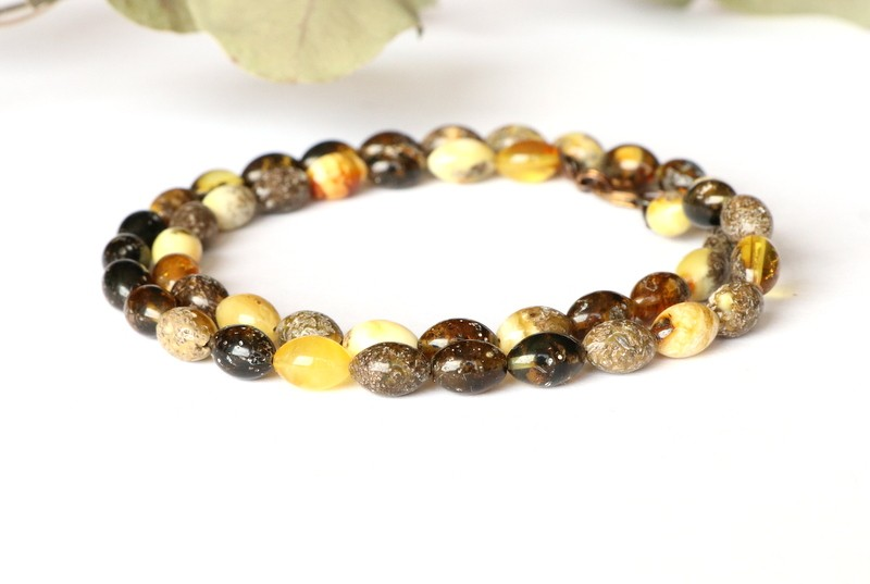 Multicolor amber necklace N364