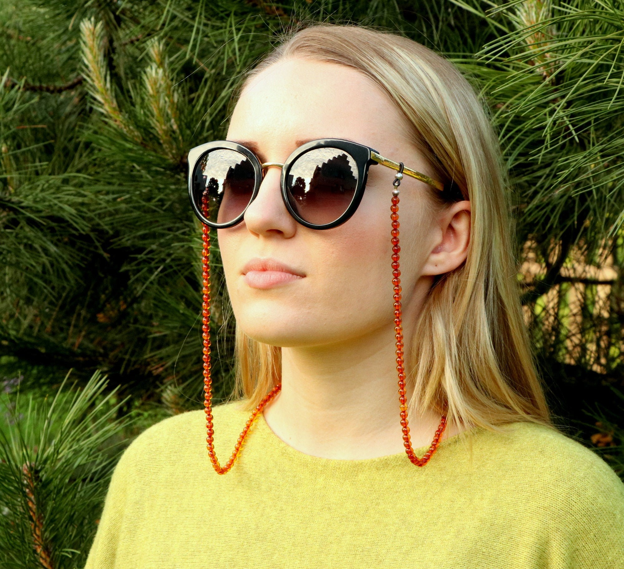 Amber chain for sunglasses,...