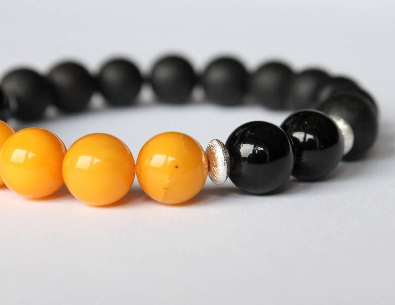 Black amber men bracelet,...