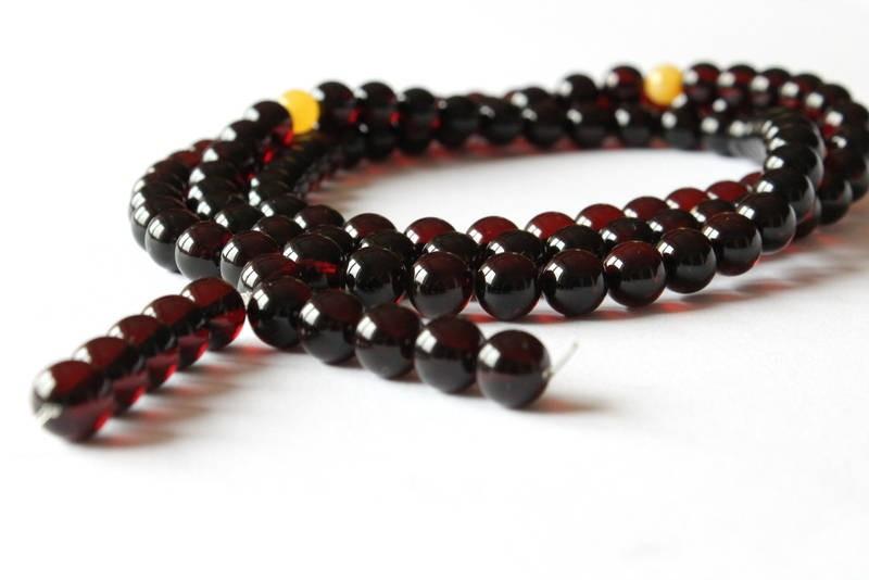 9.5 mm amber rosary mala,...
